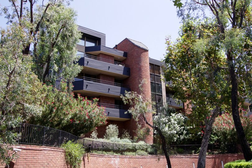 The private balconies of units within the Encino Towers buildings