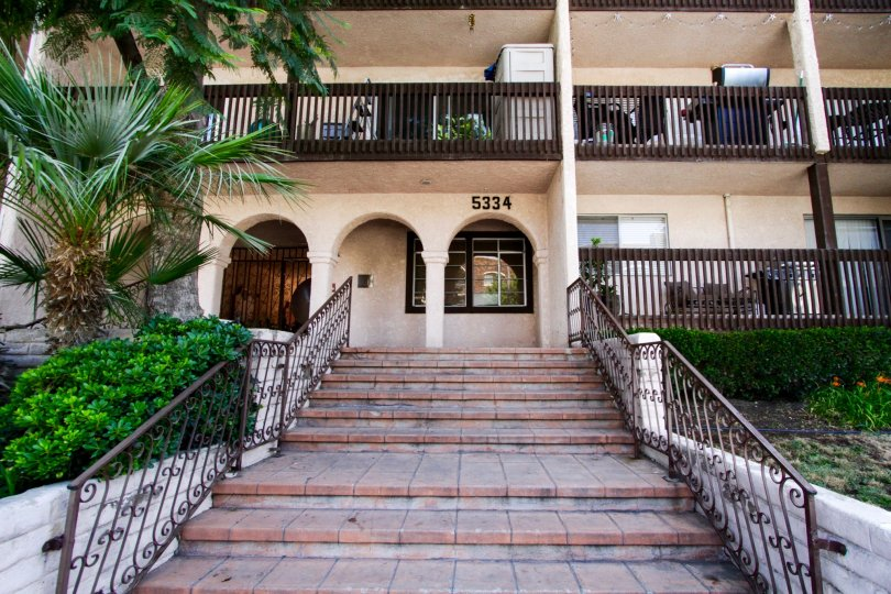 The stairway that leads up to the entrance of Encino Villas