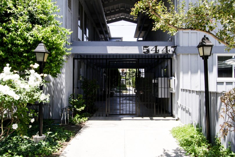 The gated entrance of Haven Gardens located in Encino