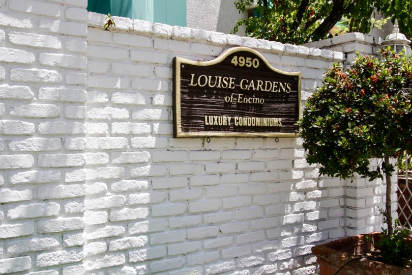 The sign announcing Louise Gardens in Encino
