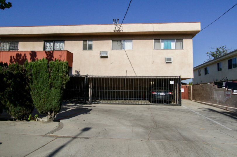 The parking spots for Morella Condominiums in North Hollywood