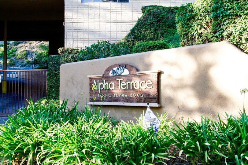 The sign welcoming you to Alpha Terrace Gardens in Glendale California