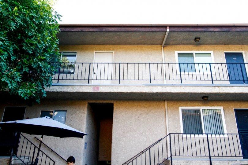 The balcony at Casa de Verdugo in Glendale California