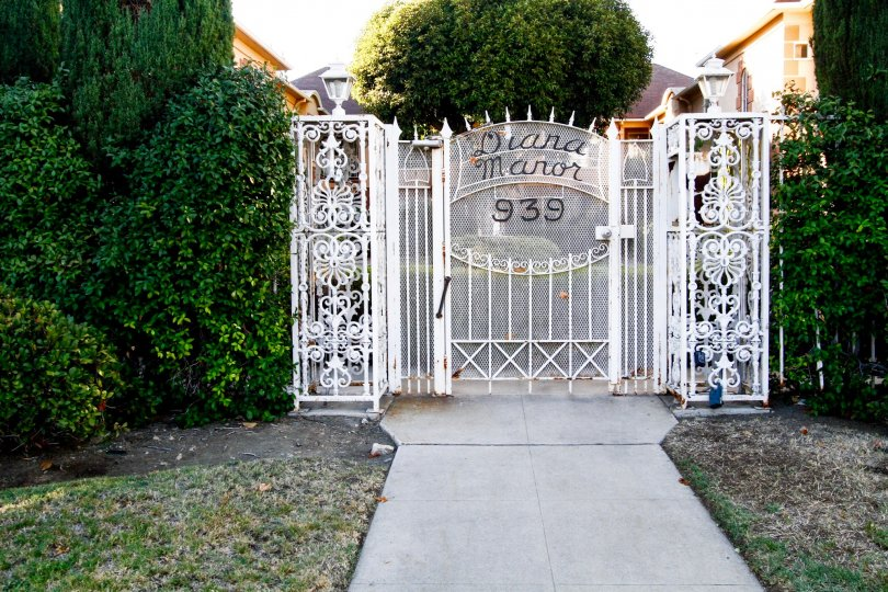 The address for Diana Manor written on the gate