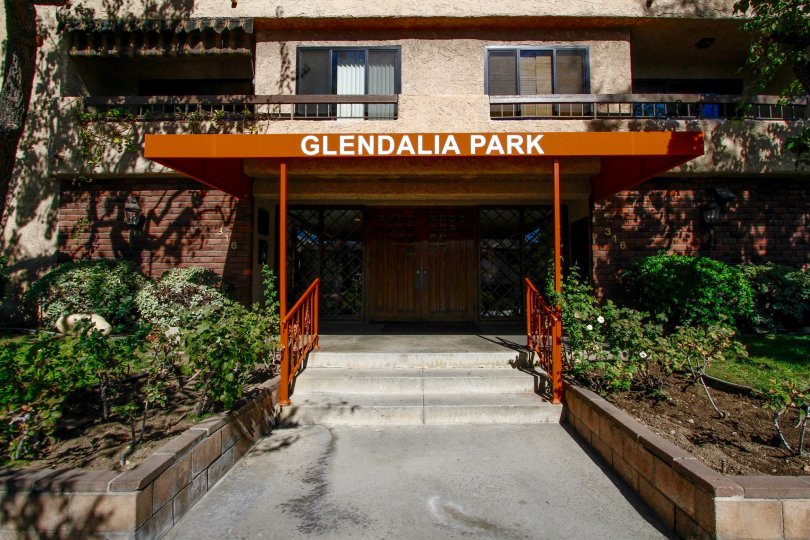 The name of Glendalia Park above the entrance