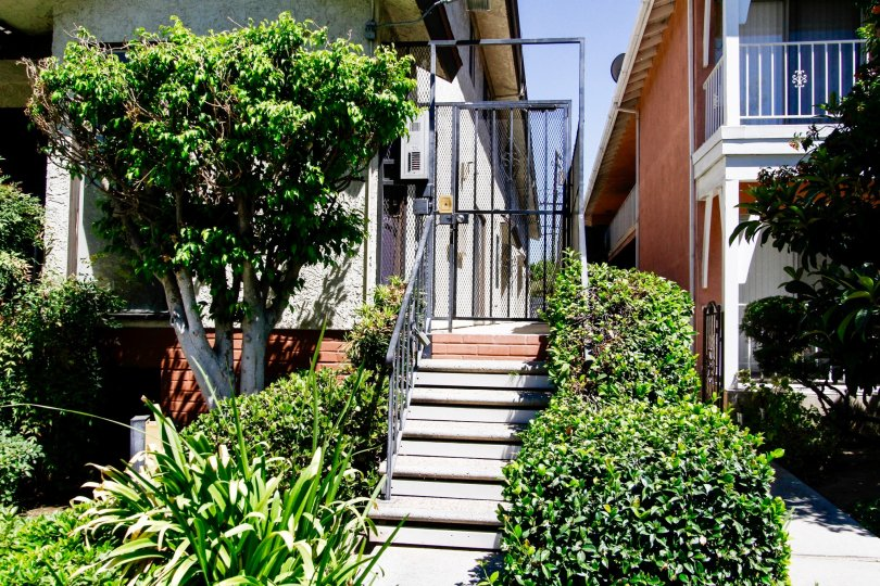 The stairs leading up to the Park Villa Townhomes