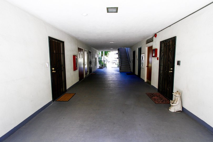 The doors to the units within the Rossmont