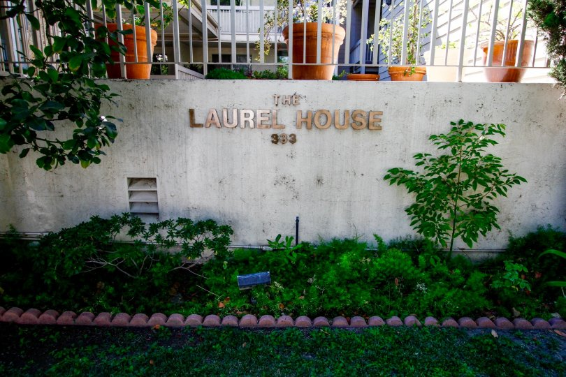 The Laurel House name on the building