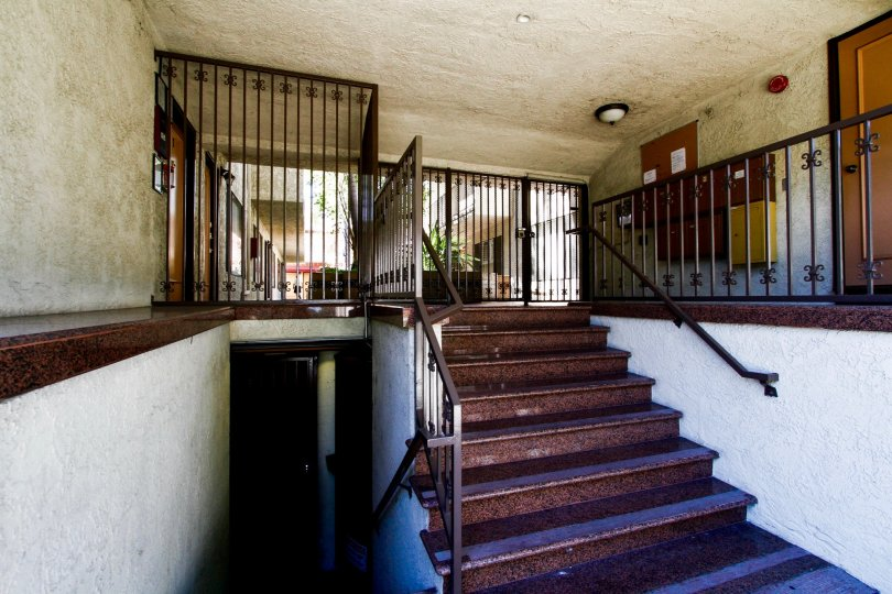 The stairs inside the Thompson Court in Glendale California