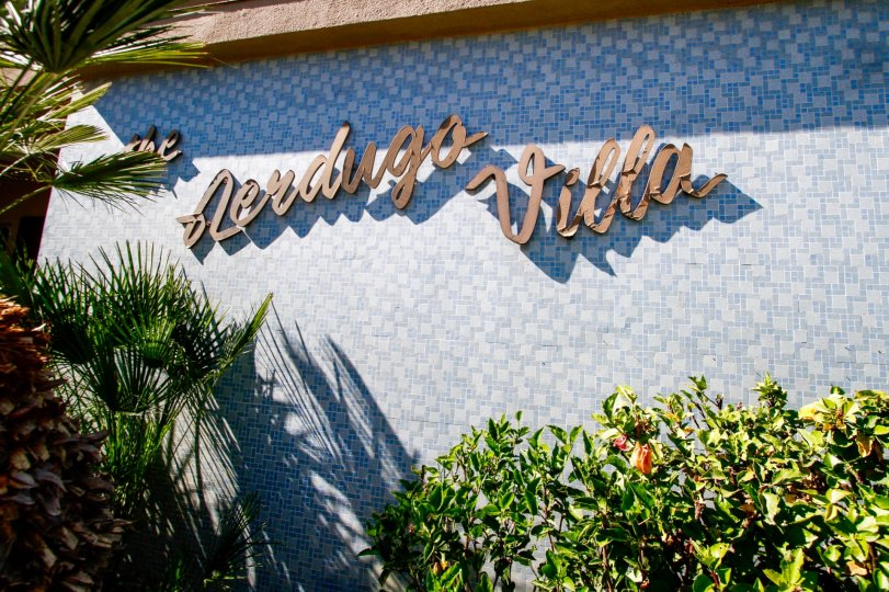 The Verdugo Villa name on the building in Glendale California