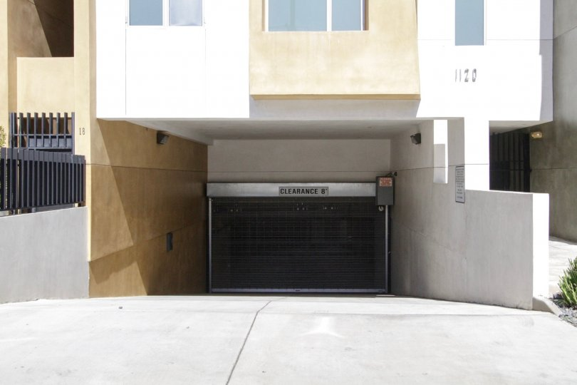 The underground parking entrance at El Centro Lofts