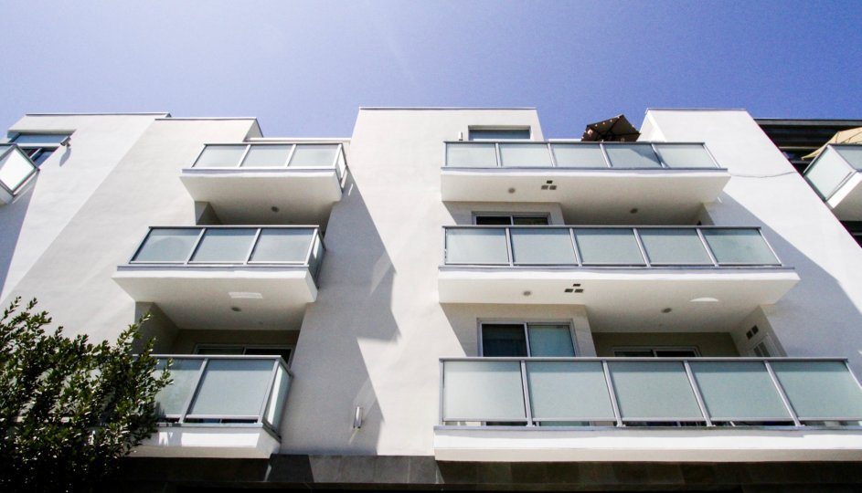 Large Balconies with frosted glass panels to each condo at Hawthorn in Hollywood