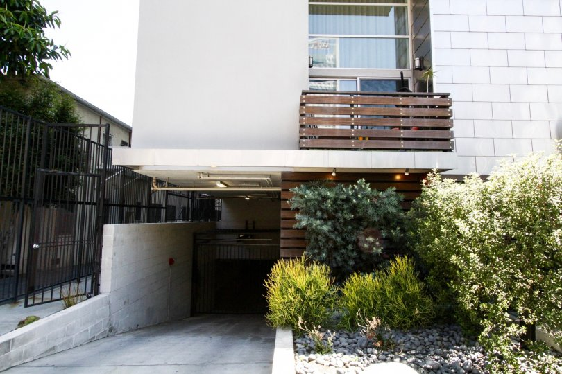 The Hollywood Lofts balconies are made of wood slates fastened with large metal bolts