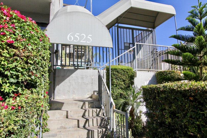 The address above the entrance into La Mirada Condominiums in Hollywood, California