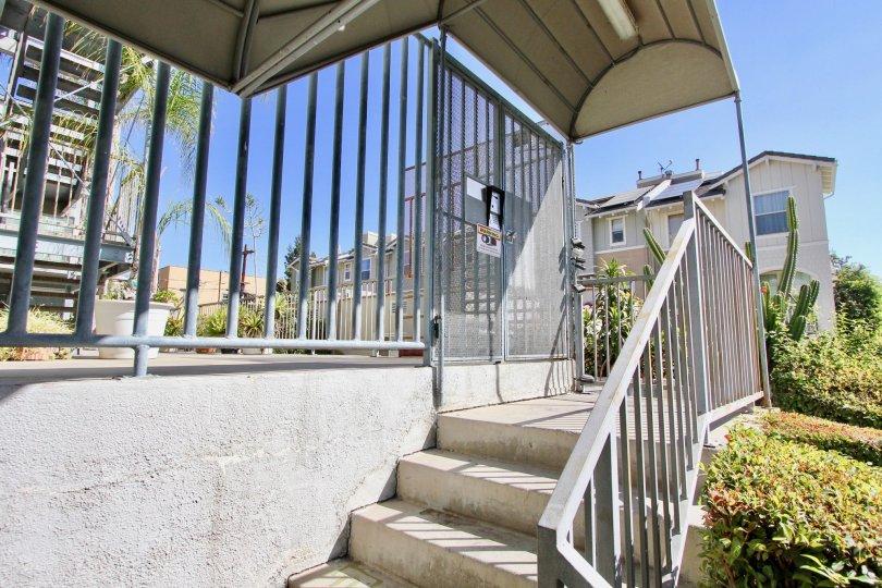 The stairs leading up to La Mirada Condominiums