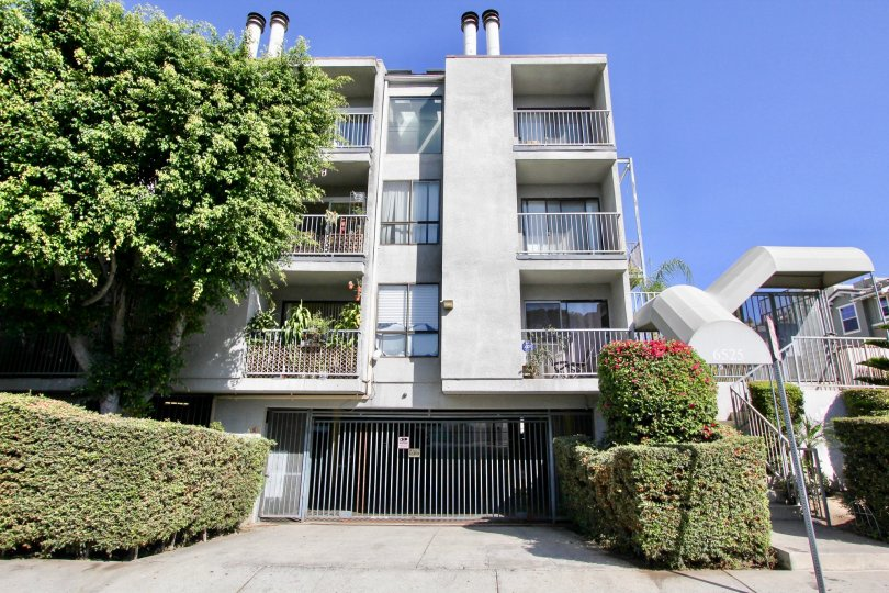 The driveway up to La Mirada Condominiums in Hollywood, California