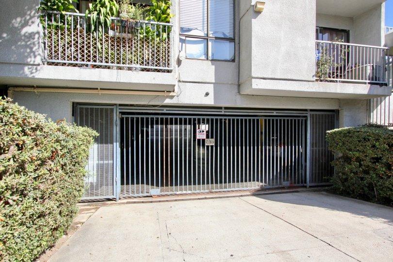 The parking garage for residents of La Mirada Condominiums