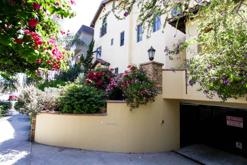 A rounded stucco planters lead cars down to the gated parking garage for La Serenata