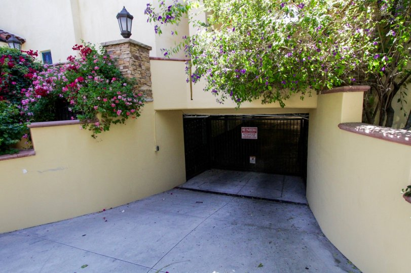 Below ground gated parking entrance to La Serenata in Hollywood