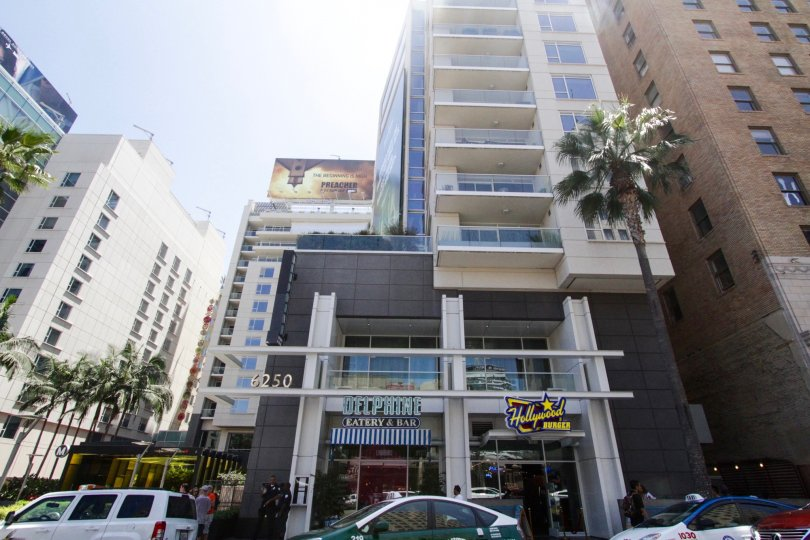 Restaurants occupy the first floor of the W Hollywood Residences building