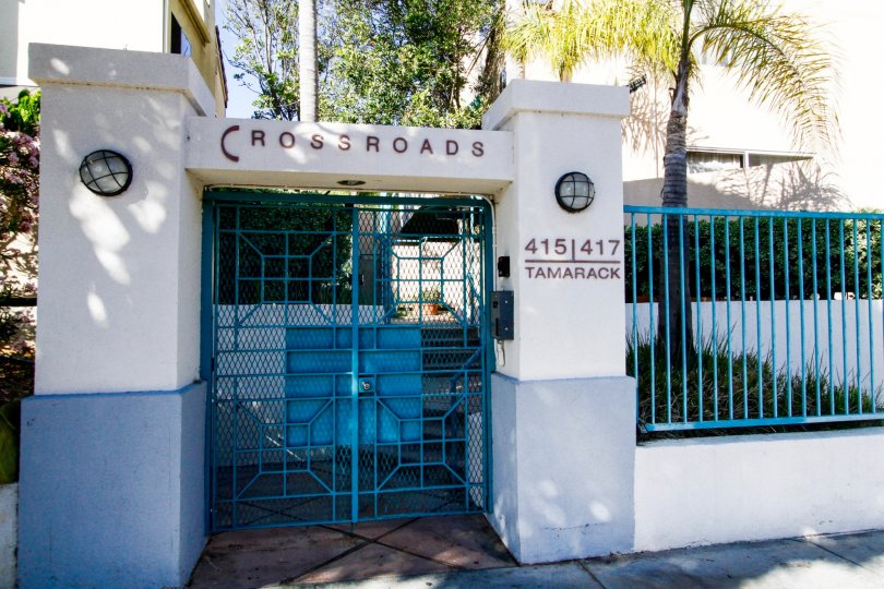 The gated entrance into Crossroads in Inglewood