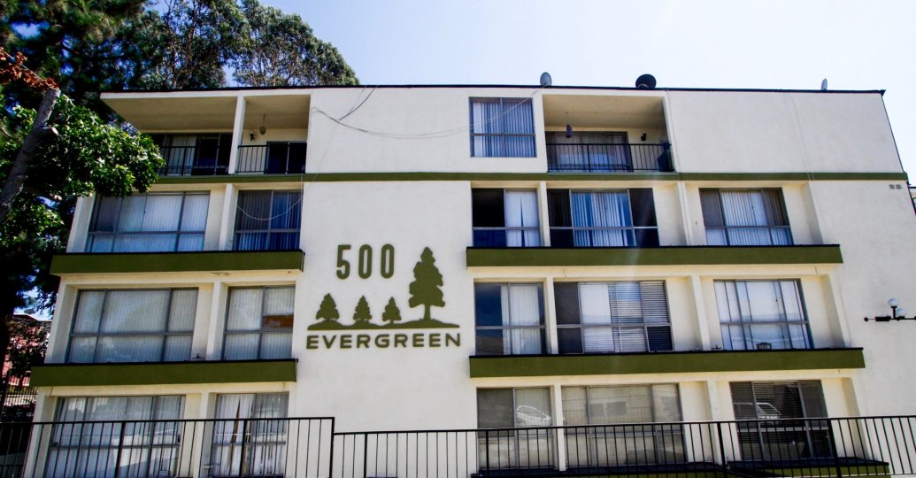 The name of the Evergreen on the building