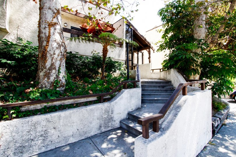 The stairs leading up to Hyde Park Village