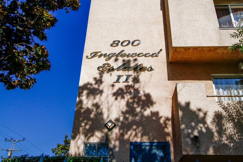 the name of the Inglewood Estates II on the side of the building