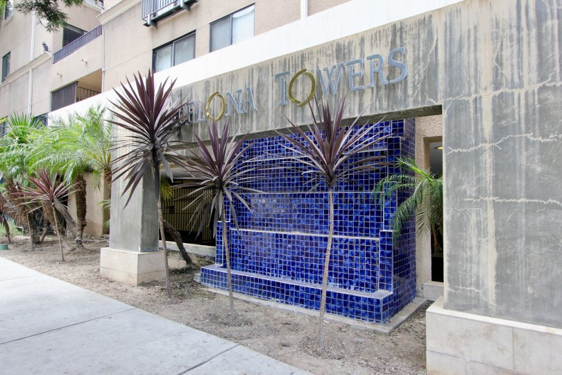 Bright Mediterranean tilework stands outside the Barcelona Towers in a Korea Town district of California.