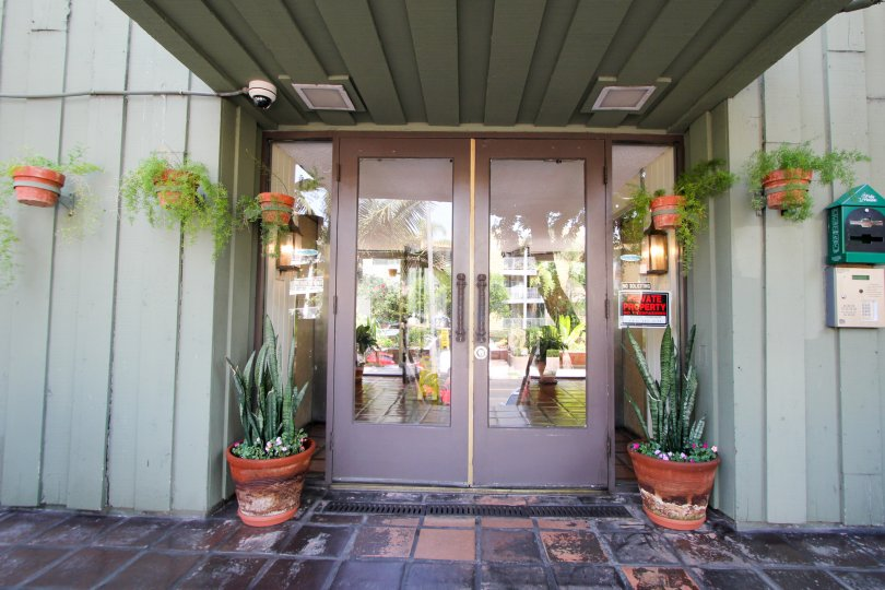 entrance decorated with plants in front of the door in building Garden Villas