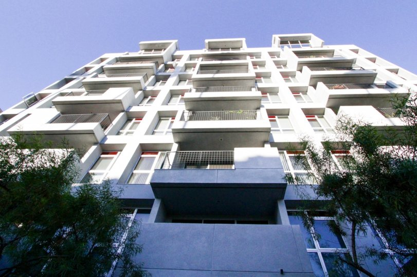 A multistory condo building, Kenmore Tower offers balconies on each unit