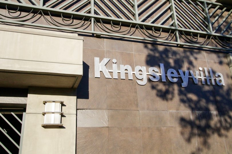 The Kingsley Villa building marquee is made of metal letters with a strikethrough in the background
