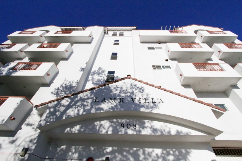 From the entry of Lamk Villa looking up to see the balconies of the building