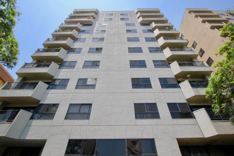 The Richmore Garden Towers climb towards the blue sky in beautiful Koreatown, California