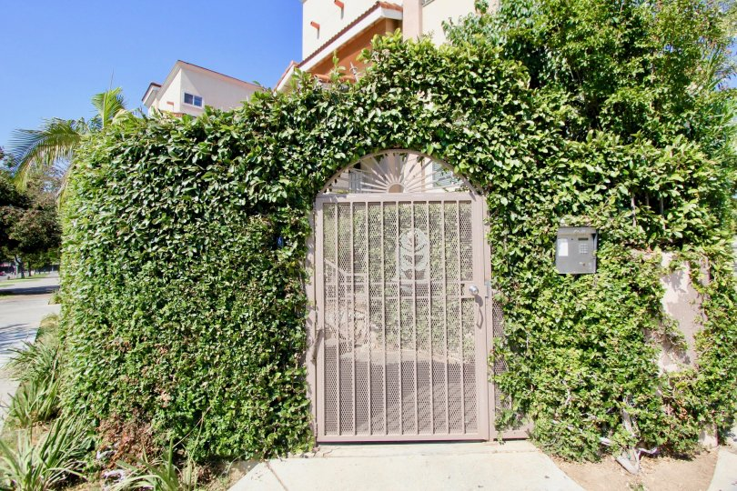 Side gate of Shatto Villas in Koreatown California