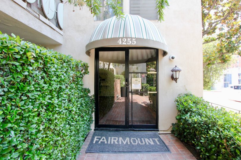 The entryway of The Fairmount Building in Koreatown, California.