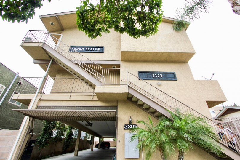 The stairs leading up to 3305 Ransom units in Long Beach, California