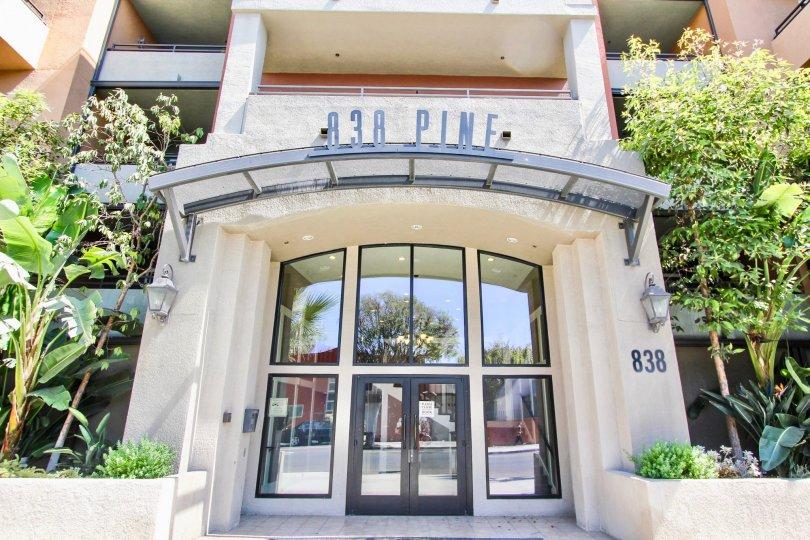 The entrance into 838 Pine in Long Beach, California