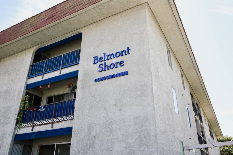 The letters on the building at Belmont Shore Condominiums