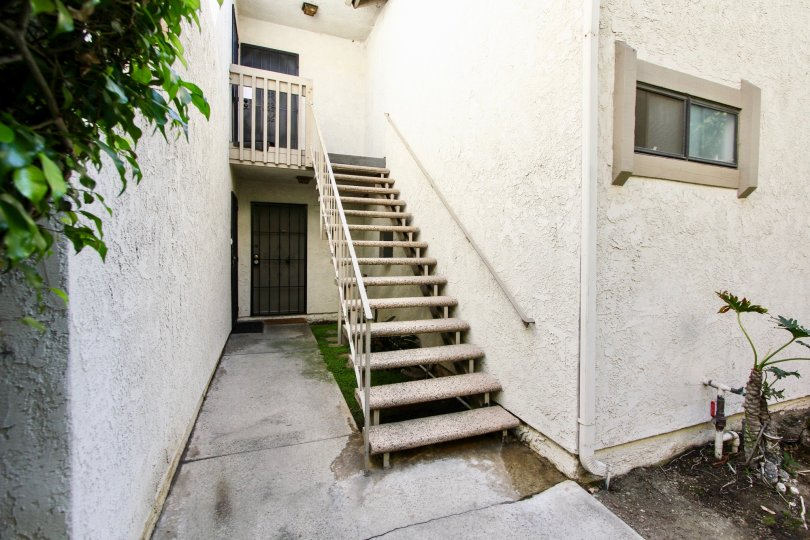 The stairs leading up to units at Bixby Knoll