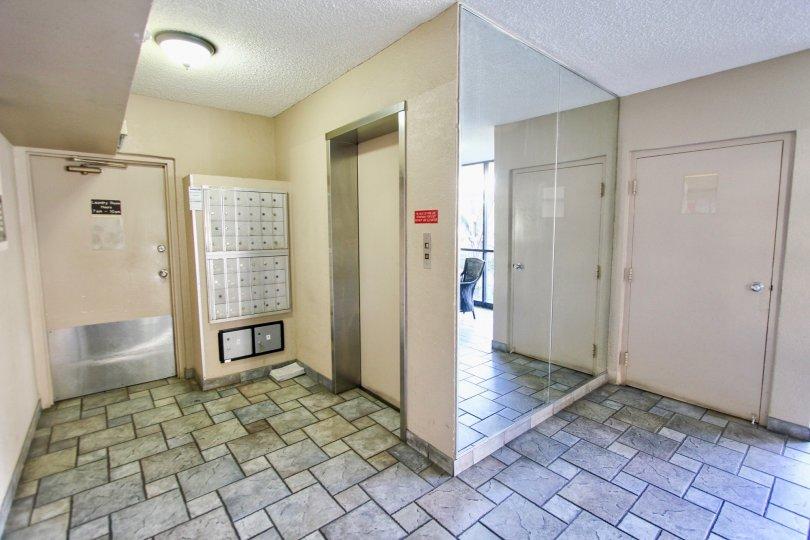 The elevator inside of Bixby Terrace