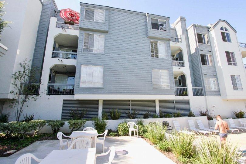 The balconies seen at the Bridgeport in Long Beach, California