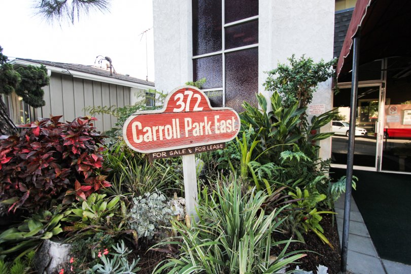 The sign into Carroll Park East