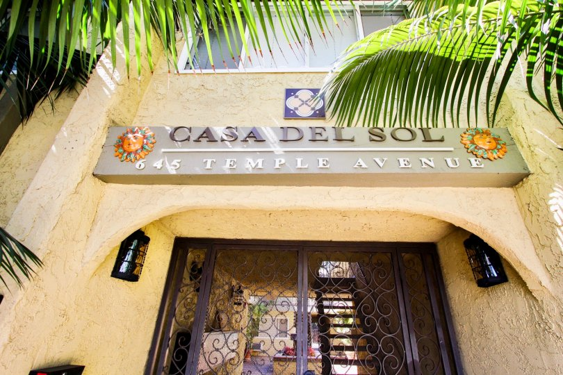 The Casa Del Sol name above the entrance