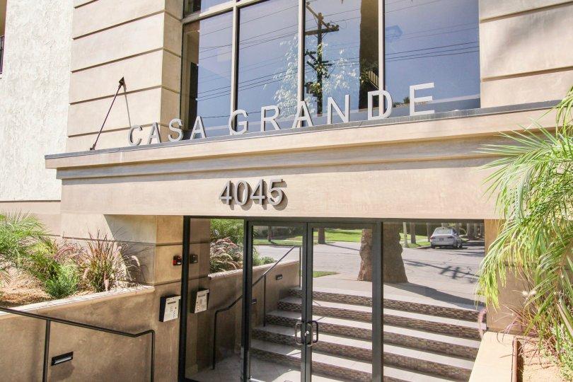 The Casa Grande name above the entrance