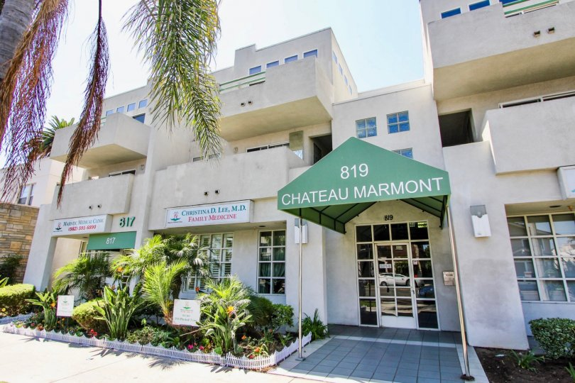 The name of the Chateau Marmont at the entrance