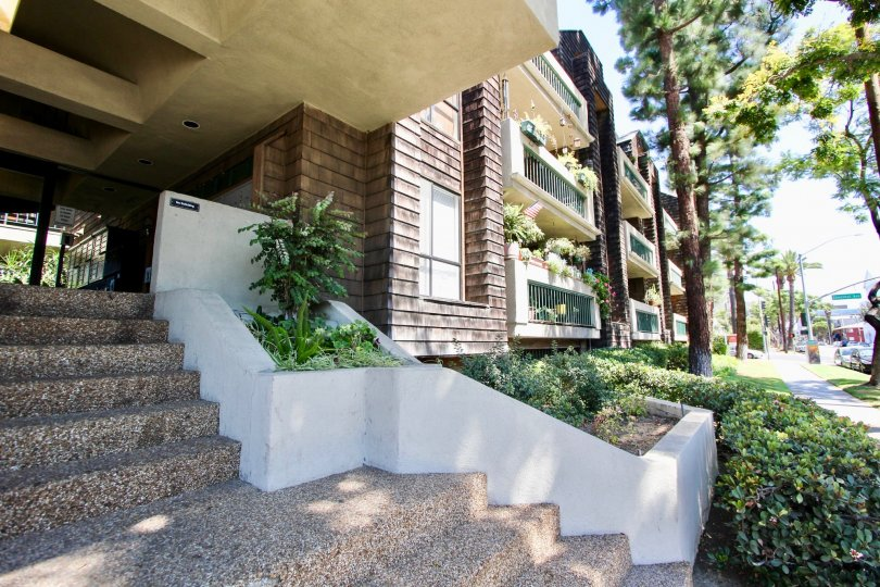 The stairs up to the entrance of the Chestnut Court in Long Beach, California
