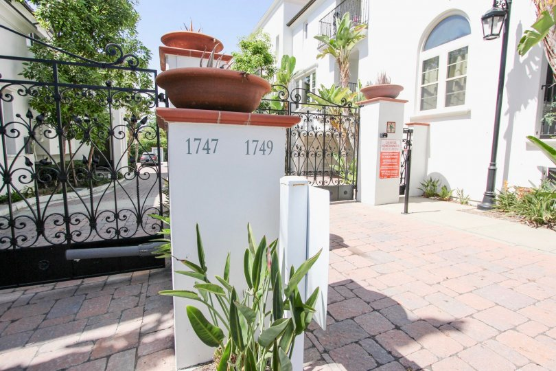 The address seen at Cienega Townhomes in Long Beach, California