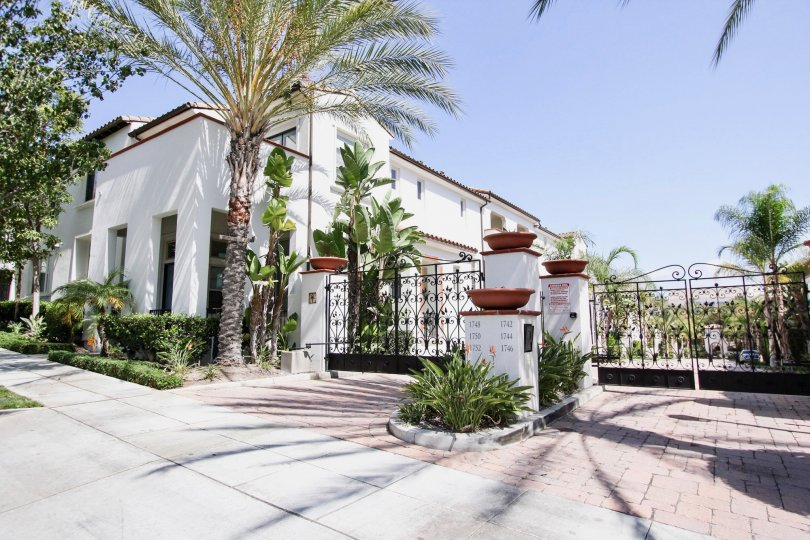 The gated entrance into Cienega Townhomes