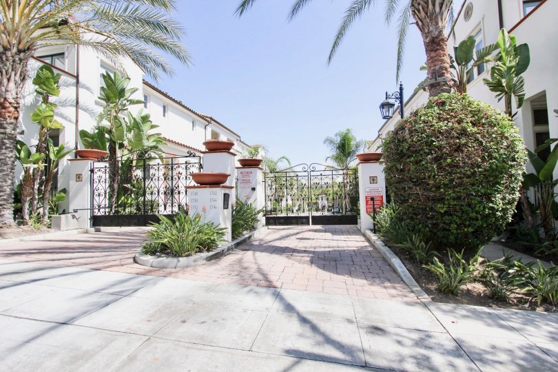 The gate into Cienega Townhomes in Long Beach, California